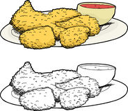 Plate of Fried Chicken. Isolated cartoon plate of fried chicken and hot sauce Stock Photography
