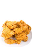 Plate of Fried Chicken on White Background Royalty Free Stock Photo