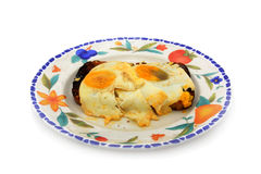 Plate of fried eggs Royalty Free Stock Images
