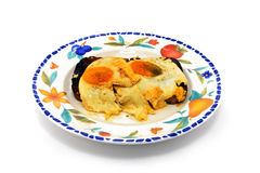 Plate with fried eggs on toast Stock Images
