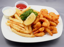 Plate of fried food Stock Photos