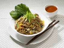 Plate of Fried Noodles. Plate of indonesian fried noodles mixed with vegetables and seafood, side view Stock Images
