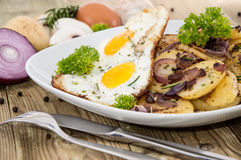 Plate with fried Potatoes and Egg Stock Image