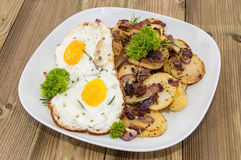 Plate with fried Potatoes and Egg Royalty Free Stock Photos