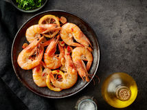 Plate of fried prawns Stock Photos