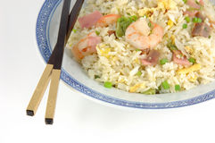 Plate of fried rice and chopsticks Royalty Free Stock Image