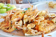 A plate of fried shrimps Stock Photos