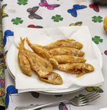 Plate of fried small fish red mullet Stock Photos