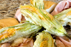 Plate With Fried Zucchini Flowers Royalty Free Stock Photo