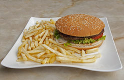 Plate with fries and hamburger Royalty Free Stock Images