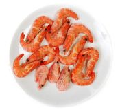 Plate frozen prawns Royalty Free Stock Image