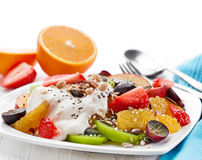 Plate of fruit and berries salad Stock Images