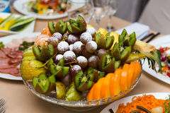 Plate with fruit dessert Royalty Free Stock Image