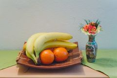 Plate of fruit. With oranges, and bananas Royalty Free Stock Image