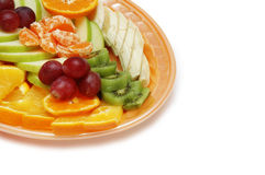 Plate with fruit salad Stock Images