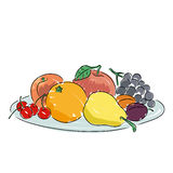 A plate of fruit, vector illustration. A plate of fruit isolated on a white background. Art vector illustration for you design Royalty Free Stock Photo