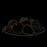 A plate with fruit, vector illustration. A plate with summer fruit isolated on a black background. Colored outline. Hand-drawn sketch. Art vector illustration Royalty Free Stock Photography