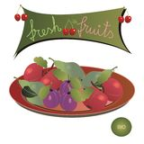 Plate with fruits. Plate with apples, plums, pears and a panel with cherries and the message: fresh fruits; and a bio emblem vector illustration