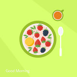 Plate with fruits berries and glass of juice on a table. Flat illustration Stock Images