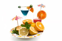 Plate With Fruits And Cocktails Stock Images