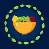 Plate with fruits. Frame of leaves. Flat vector icon. For card, web, icons, shops. stock illustration