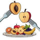 Plate with fruits nutrition with fork and knife. Vector illustration eps 10 Royalty Free Stock Image