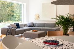 Plate with fruits placed on table in blurred foreground in real photo of bright living room interior with window and corner lounge. With pillows stock photos