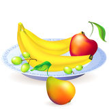 Plate of fruits, vector illustration Royalty Free Stock Photos