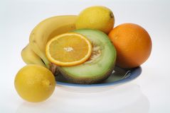 Plate of fruits3. Fresh juicy fruits on the plate Stock Photo