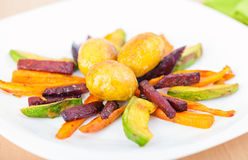 Plate ful of vegetable cooked chips Stock Photography