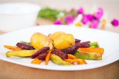 Plate ful of vegetable cooked chips Royalty Free Stock Image
