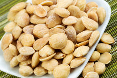 Plate Full of Almonds Stock Images
