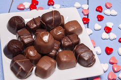 Plate full of chocolate candy,Valentines,heart Royalty Free Stock Images