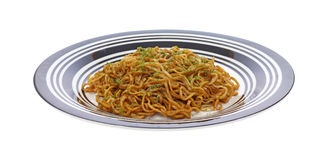 Plate full of chow mein noodles Stock Image