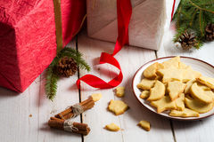 Plate full of Christmas cookies with gifts Stock Photo