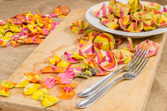 Plate full of colorful ravioli pasta two forks on a wooden board and canvas Royalty Free Stock Images