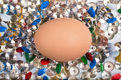 Plate full of colorful sharp thumbtacks Royalty Free Stock Photos