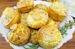 Plate full of corn bread muffins on a table Royalty Free Stock Image