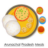 Plate full of delicious Arunachal Pradesh Meal Royalty Free Stock Photo