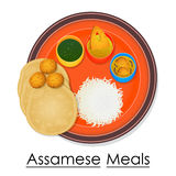 Plate full of delicious Assamese Meal Royalty Free Stock Photography