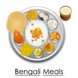 Plate full of delicious Bengali Meal Stock Photography