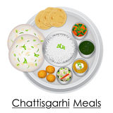 Plate full of delicious Chhattisgarhi Meal Stock Images