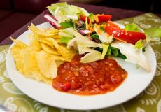 Plate full of delicious food - chips, spicy tomato source and green salad Royalty Free Stock Photography