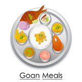 Plate full of delicious Goan Meal Stock Images