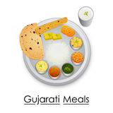Plate full of delicious Gujrati Meal Royalty Free Stock Images