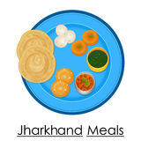 Plate full of delicious Jharkhand Meal Stock Photo