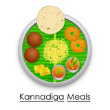 Plate full of delicious Kannadiga Meal Stock Images