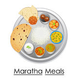 Plate full of delicious Maratha Meal Royalty Free Stock Photo