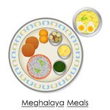 Plate full of delicious Meghalaya Meal Stock Image