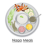 Plate full of delicious Naga Meal Stock Image